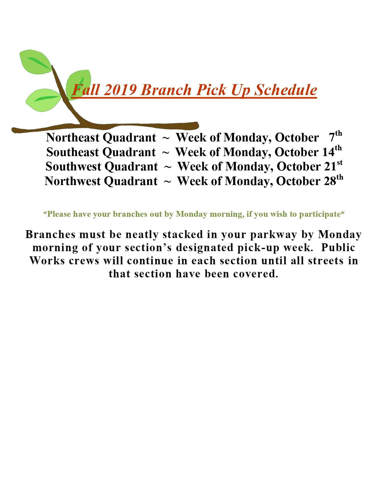 2019 Fall Branch Pick up Schedule