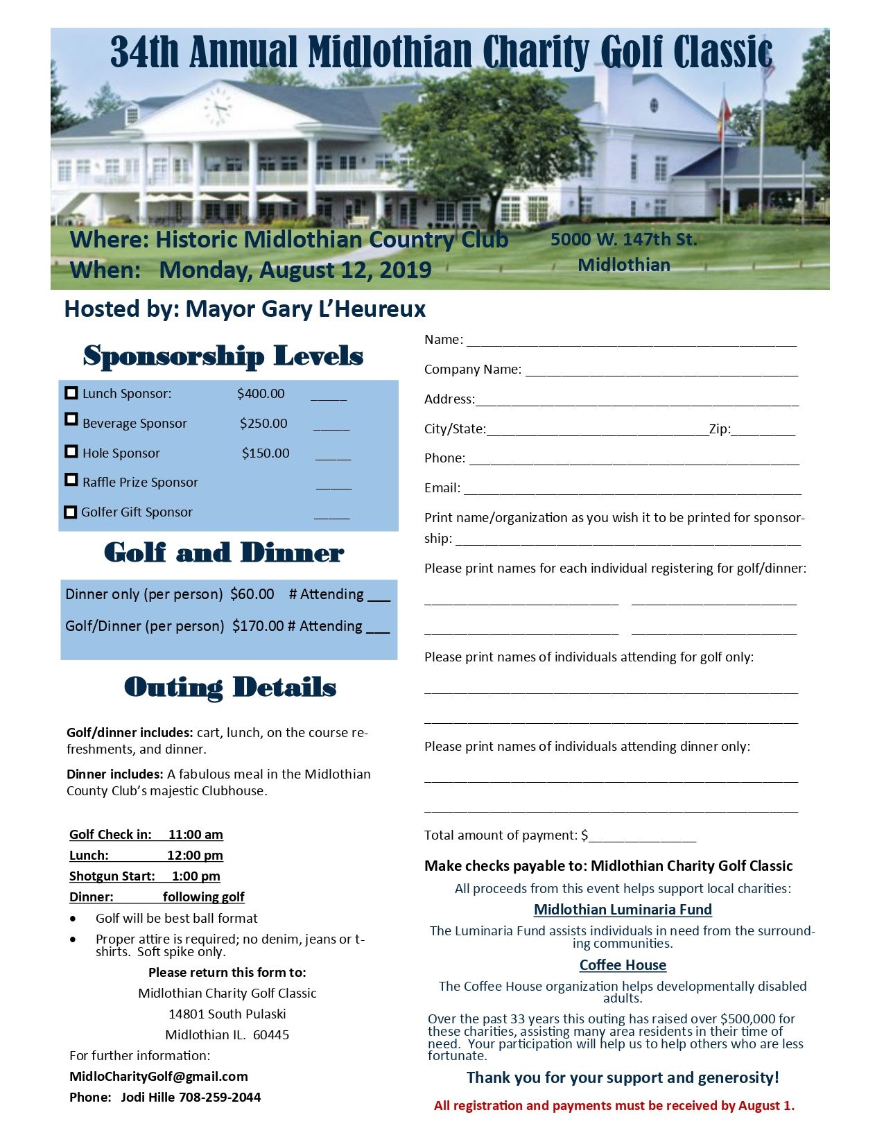 Charity Golf Brochure 2019