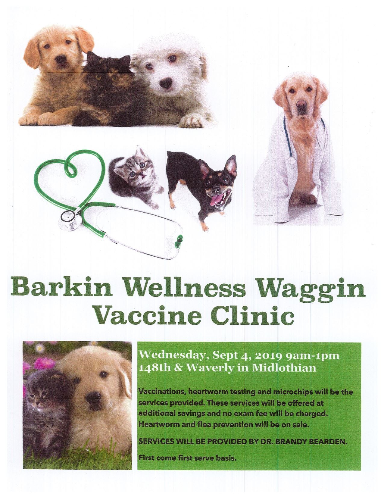 Barkin Wellness Waggin Vaccine Clinic Flyer