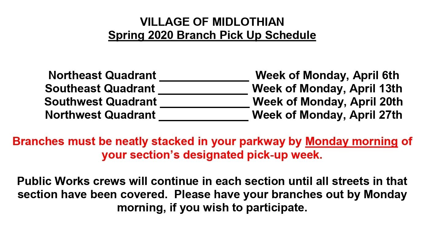 2020 SPRING Branch Pick Up Schedule