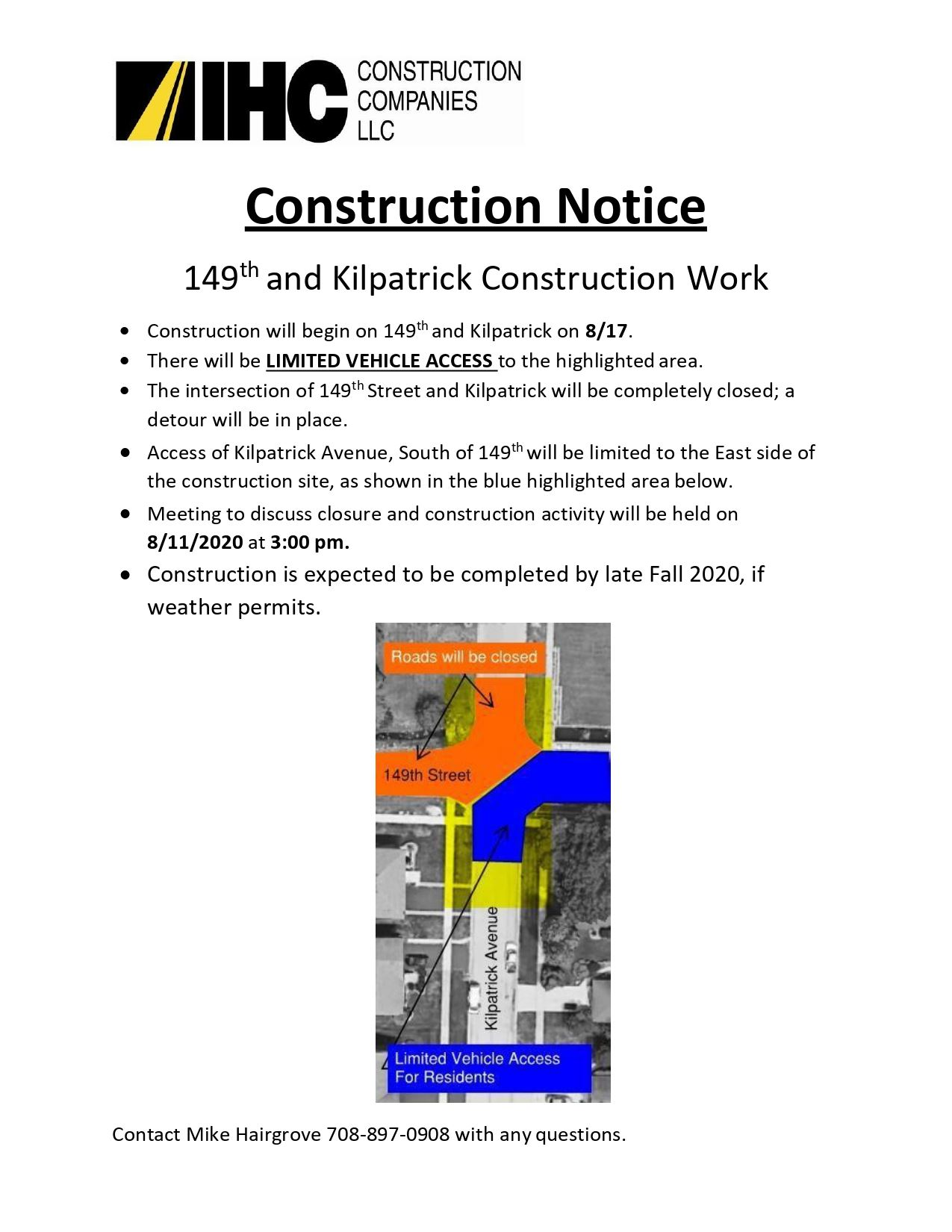 149th and Kilpatrick Construction Notice - 1